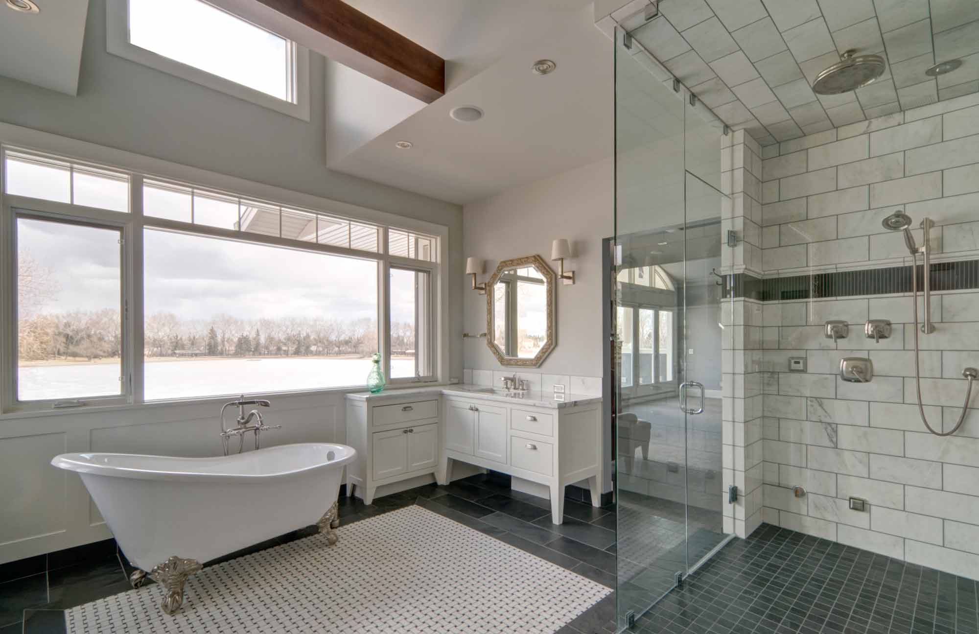 Luxury Custom Home Shower and Bathroom by Style Developments in Calgary Alberta
