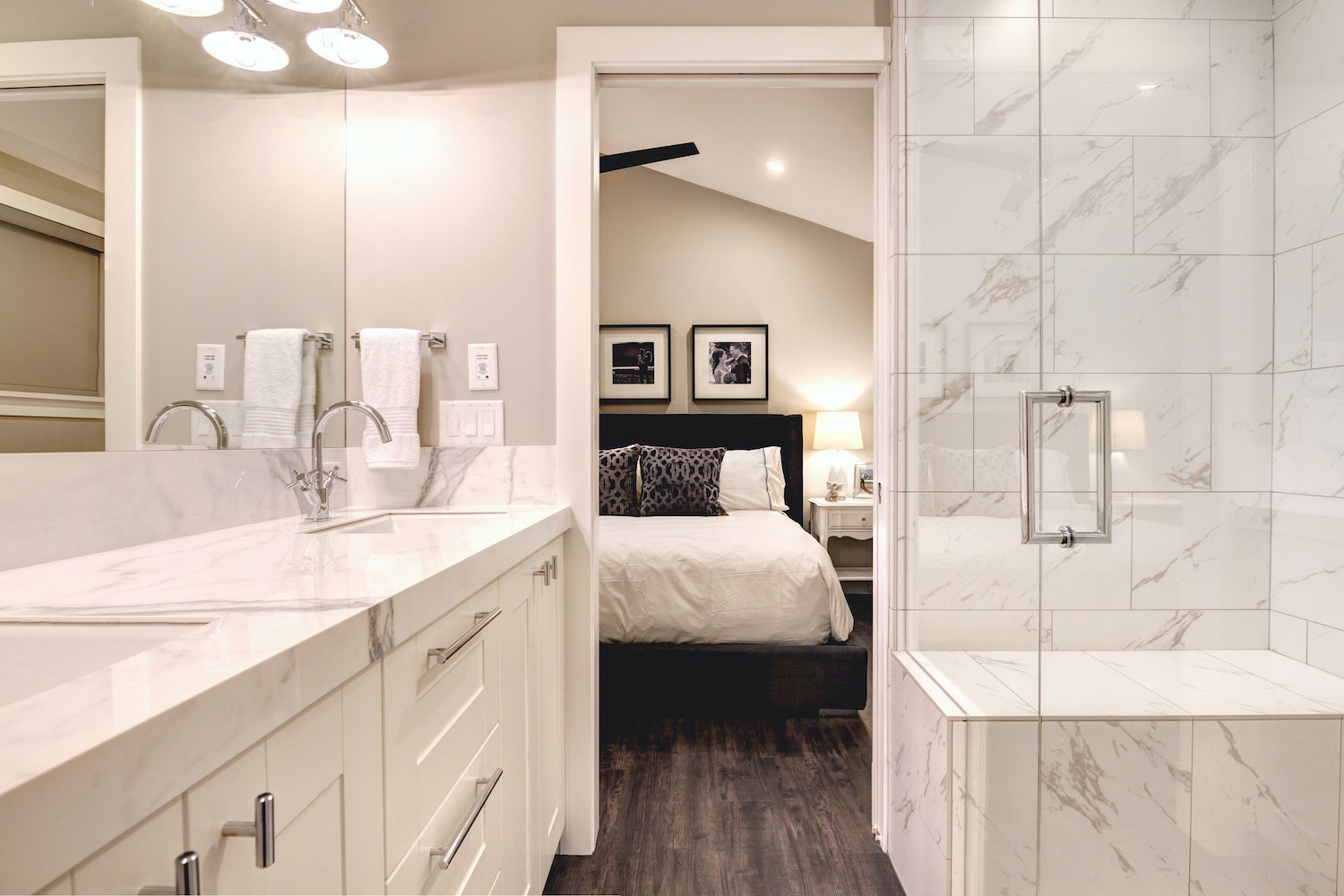 White Granite bathroom remodel by Style Developments in Calgary Alberta